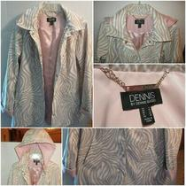Dennis Basso S Water Resistant Jacket Detachable Hood Stone Blush Tan White Pink Photo