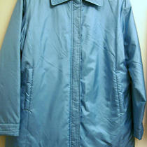 Dennis Basso Size L Silk Zip Front Jacket Aqua Pristine Free Shipping Photo