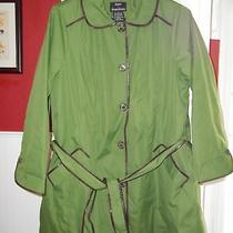 Dennis Basso Water Resist Button Croc Trim Coat Grn 1x Photo