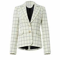 Derek Lam 10 Crosby White Ivory Windowpane Blazer Buttoned 2 Jacket 550- 214 Photo
