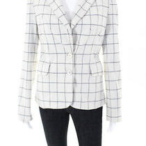 Derek Lam 10 Crosby Womens Plaid Notched Printed Blazer White Size 4 10619444 Photo
