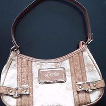 Dereon Purse Handbag Shoulder Bag Beyonce Fleur Di Lis Gold Beige Faux Croc Photo