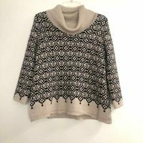 Design History Beige Patterned Cowl Neck Sweater Womens M Photo