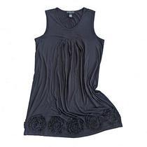 Design History Black Rosette Tank Dress Women's Plus Size 2x Stretch Shift Light Photo