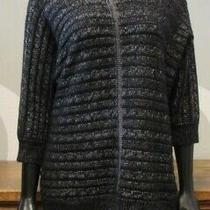 Design History black&silver Horizontal Cable Knit 3/4 Sleeve Pullover Sweater-L Photo