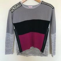 Design History Mixed Media Color Block Gray Black Fuchsia Sweater Girls 14 Photo