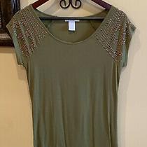 Design History Olive Green Short Sleeve Shirt Bronze Studded Shoulders Sz S Photo