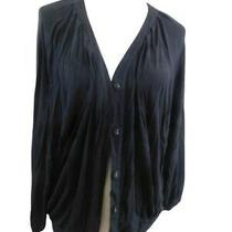 Design History Size L Large Black Button Front Oversized Knit 3/4 Sleeve Top Photo
