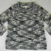 Design History Sweater Medium Gray Spacedyed Chunky 3/4 Sleeve Pockets Photo