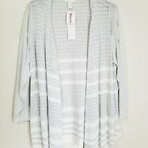 Design History Sweater Open Cardigan Gray White Waterfall Psize 3x Photo