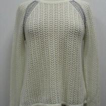 Design History Women's Cream & Silver Long Sleeve Open Knit Sweater Size M Photo