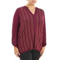 Design History - Women's Plus 3x -  Nwt - Maroon Red Embellished Stud Knit Top Photo