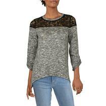 Design History Womens B/w Lace Yoke Fleece Shirt Pullover Top Blouse S Bhfo 6953 Photo