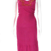 Design History Womens Beaded v-Neck a-Line Sweater Maxi Dress Pink Cotton Size M Photo