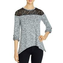 Design History Womens Black Lace Marled Pullover Sweater Top S Bhfo 8357 Photo