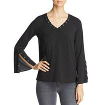 Design History Womens Black Lace-Up Grommet Pullover Top Shirt Xl  0892 Photo