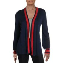 Design History Womens Blue Stripe Ribbed Trim Cardigan Sweater Top Xs Bhfo 1529 Photo