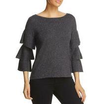 Design History Womens Gray Ribbed Knit Ruffle Sleeves Top Sweater S Bhfo 9064 Photo