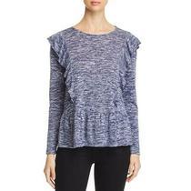 Design History Womens Navy Marled Ruffled Knit Top Shirt L  3196 Photo