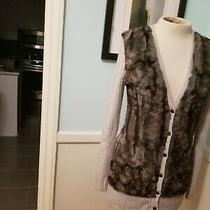 Design History Womens Size Medium Gray Faux Fur Cardigan Tunic Sweater Photo