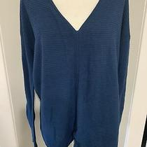 Design History Womens Solid Blue v Neck Long Sleeve Sweater Top Large Photo