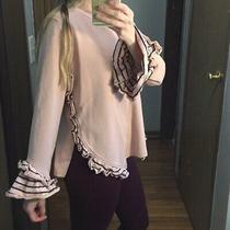 Design Lab by Lord and Taylor Blush Pink Sweatshirt Navy Trim Medium Photo