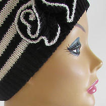 Designer Anne Klein & Renee's Black/ White Strips Flower Detail hat& Gloves Set Photo