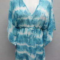 Designer Aqua Blue White Tie Dye Print Tie Waist Beach Cover Up Tunic Size M Photo