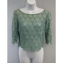 Designer Aqua Crochet Short Sleeve Knit Blouse Sz S Photo