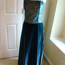 Designer Betsey & Adam by Jaslene Prom Dress or Evening Blue Metallic Size 10  Photo