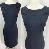 Designer Calvin Klein Black Fitted Sheath Pockets Career/cocktail Dress-Size 6/m Photo