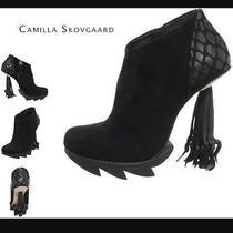 Designer Camilla Skovgaard Ankle Books Tassel Heels Suede Black Photo