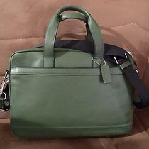 Designer Coach New York Hudson  Computer  Mens Bag  Briefcase Leather Green Nwt  Photo