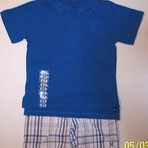 Designer Hurley Boys Dress Polo Shirt & Plaid Short Set S/s Sz 2t Nwt Code Blue Photo