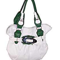 Designer Inspired Leather Handbag Purse Bag Belt Tote White Green Photo