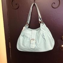 Designer Inspired Light Turquoise Blue Soft Faux Leather Shoulder Bag Purse Photo