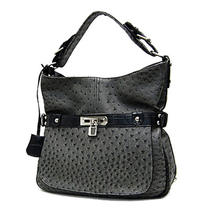Designer Inspired Ostrich Skin Emboss With Lock Hobo Handbag Purse Nwt Gray Photo