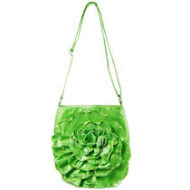 Designer Inspired Patent Leather Flower Design Shoulder Handbag Purse Green Lime Photo
