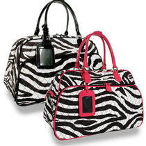 Designer Inspired Quilted Zebra Stripe W/fuschia Weekender Fashion Handbag-Nwt Photo