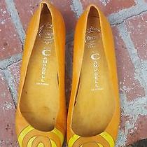 Designer Jeffery Campbell Women's Shoes Flats Orange Leather Rare Size 8 8.5 Photo