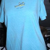 Designer Life Is Good Lig Kayak Themed Sporting Aqua Blue Casual Shirt M Photo