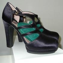 Designer  Moschino  Purple  Satin   High  Heels  Hot  Platform   Size 37 Photo