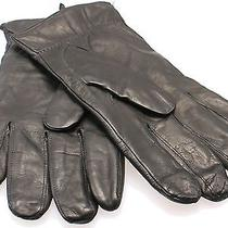 Designer New Deep Black Size Xl Leather Cashmere-Lined Winter Gloves 175 323 Photo