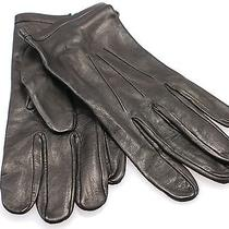 Designer New Deep Black Size Xl Leather Silk-Lined Winter Gloves 175 306 Photo