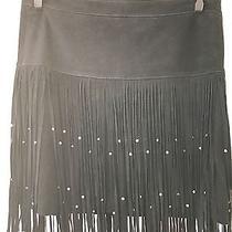 Designer Rebecca Minkoff Black Suede Leather Mini Flappler Skirt Sz 0 Xs New Photo