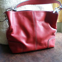 Designer Red Leather Hobo Style Bag New Photo