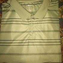Designer Reebok Green Collared Striped Golf Shirt Mens Size 4x 100% Polyester  Photo