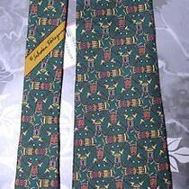 Designer Salvatore Ferragamo Drum Novelty Green Silk Tie Necktie Nwt Photo