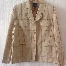 Designer Silk Blazer Jacket Chelsea Campbell Petite Size 10 55% Silk 45% Linen Photo