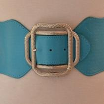 Designer Style Glam Snake Box Square Buckle Light Aqua Blue Cinch Corset Belt Photo